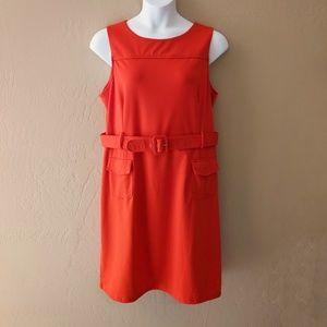 Merona Orange Sleeveless Belted Sheath Dress